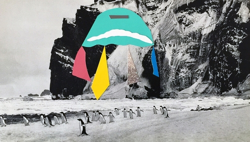antarctica interventions, the invasion of obstinate species<br />collage on book pages, 22x34 cm