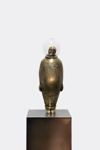 bronze, glass, 44x15x14 cm