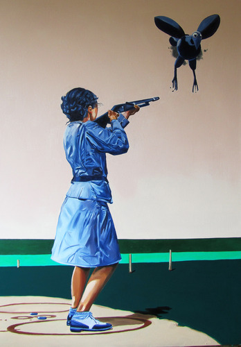 Shooter,<br />2010,<br />acrylic and oil on canvas<br />135x95 cm<br />