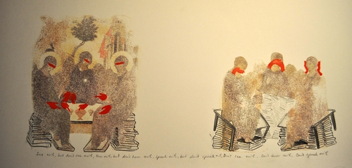don't see, don't hear, don't speak evil, 2012<br />watercolor on paper, 30x80 cm