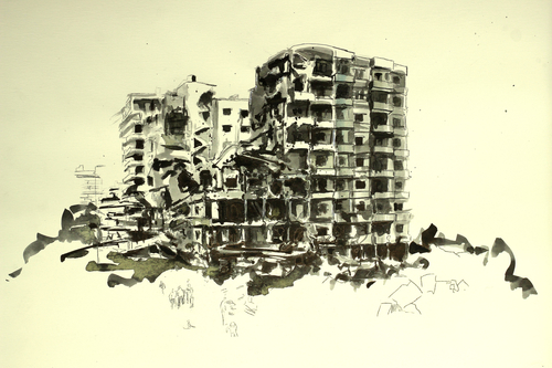 simplify democracy (the building doesn't get it), 2012<br />ink on paper, 29,5x41,5 cm