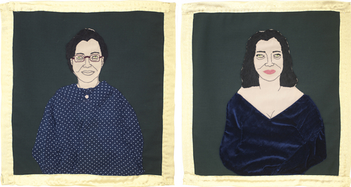 stitching on fabric<br />53x51 cm(left), 55x50 cm(right)